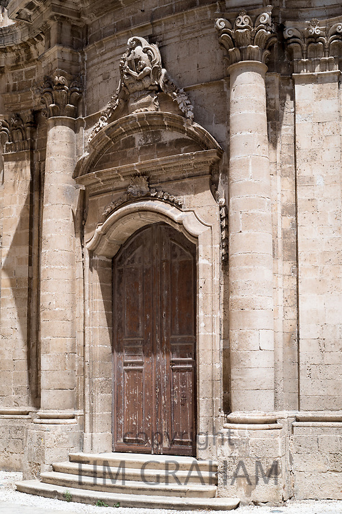 Front elevation and steps of Immacolata Church on via Della Maestranza in Ortigia, Sicily, Italy