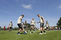 Zakaria Labyad of Ajax, Carel Eiting of Ajax, Donny van de Beek of Ajax, Perr Schuurs of Ajax, Noa Lang of Ajax, Perr Schuurs of Ajax, Dani de Wit of Ajax during a trainings session of Ajax Amsterdam in Marienfeld on June 27, 2018 in Marienfeld, Germany