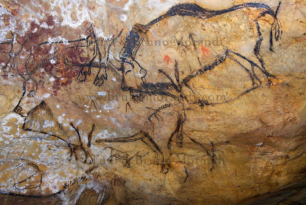 France. Ariege. Grotte préhistorique de Niaux. Peintures originales. //  France. Ariege. Prehistorical cave of Niaux. Original painting.
