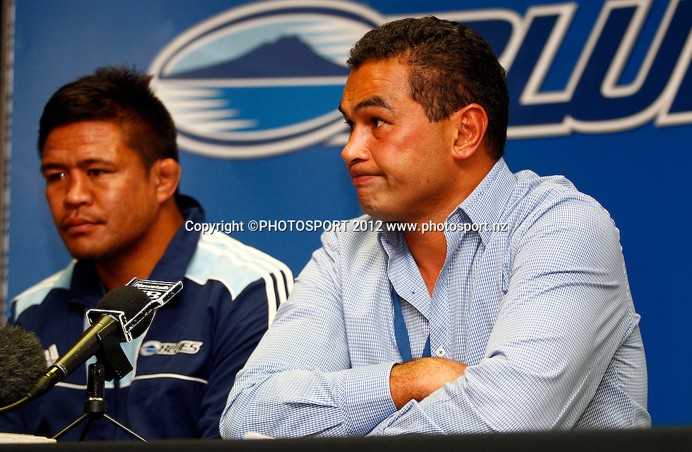 Blues Coach Pat Lam fronts the media after another loss during the Super Rugby game between The Blues and The Sharks at Eden Park, Auckland New Zealand, Friday 13 April 2012. Photo: Simon Watts / photosport.co.nz