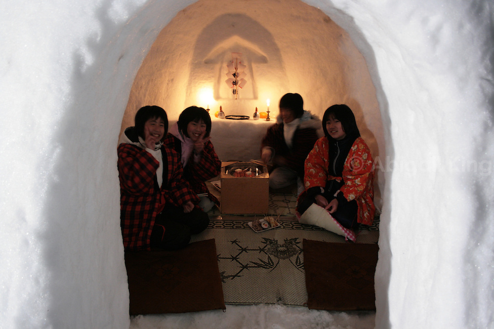 Images from the Kamakura (Igloo) Festival in Yokote in the Tohoku region of Japan. This tradition stretches back hundreds of years and involves candlelit igloos, costumes and children offering hot rice-based drinks and snacks to visitors.