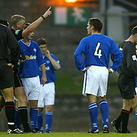 St Johnstone v Clyde..08.11.03<br />Ref Tom Brown sends off Paul Bernard and John Fraser foir a spot of fisticuffs<br /><br />Picture by Graeme Hart.<br />Copyright Perthshire Picture Agency<br />Tel: 01738 623350  Mobile: 07990 594431