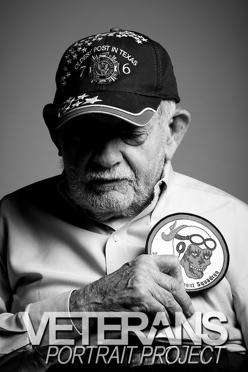 Joe M. Valdespino<br /> Army Air Corps<br /> E-6<br /> B-17 Ball Turret Gunner<br /> Sept. 1942 - Oct. 1945<br /> WWII (Europe)<br /> <br /> <br /> Veterans Portrait Project<br /> San Antonio, TX
