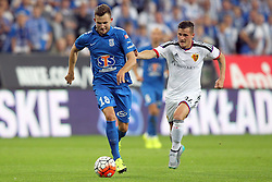 29.07.2015, INEA Stadion, Poznan, POL, UEFA CL, Lech Poznan vs FC Basel, Qualifikation, 3. Runde, Hinspiel, im Bild (L) DENIS THOMALLA (P) TAULANT XHAKA // during the UEFA Champions League Qualifier, third round, first Leg match between Lech Posen and FC Basel at the INEA Stadion in Poznan, Poland on 2015/07/29. EXPA Pictures © 2015, PhotoCredit: EXPA/ Newspix/ Wojciech Klepka<br /> <br /> *****ATTENTION - for AUT, SLO, CRO, SRB, BIH, MAZ, TUR, SUI, SWE only*****