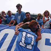 North Carolina Defenseman AUSTIN PIFANI (17) celebrates in the stands with fans after North Carolina defeated Maryland 14-13 in overtime during The NCAA Division I NATIONAL CHAMPIONSHIP GAME between North Carolina and Maryland, Monday, May. 30, 2016 at Lincoln Financial Field in Philadelphia, Pa