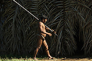 Huaorani Indian, Meñewa Wane with his lance. The lances are made from a palm trunk. They use them to hunt larger terrestrial mammals such as peccary and tapir.<br /> Bameno Community. Yasuni National Park.<br /> Amazon rainforest, ECUADOR.  South America<br /> This Indian tribe were basically uncontacted until 1956 when missionaries from the Summer Institute of Linguistics made contact with them. However there are still some groups from the tribe that remain uncontacted.  They are known as the Tagaeri & Taromenane. Traditionally these Indians were very hostile and killed many people who tried to enter into their territory. Their territory is in the Yasuni National Park which is now also being exploited for oil.