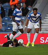 Carlisle United early penalty ahout during the Capital One Cup match between Queens Park Rangers and Carlisle United at the Loftus Road Stadium, London, England on 25 August 2015. Photo by Matthew Redman.