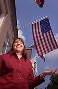 15451Ann Gordon with American Flag: Env. Portrait