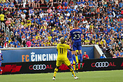 Maikel van Der Were #23 of FC Cincinnati and Gyasi Zardes #11 of the Columbus Crew compete to head the ball during a MLS soccer game, Sunday, Aug 25th, 2019, in Cincinnati, OH. (Jason Whitman/Image of Sport)
