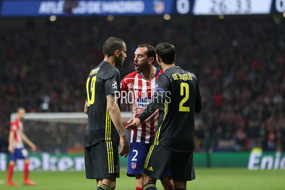 Diego Godin of Atletico de Madrid and Leonardo Bonucci of Juventus during the UEFA Champions League, round of 16, 1st leg football match between Atletico de Madrid and Juventus on February 20, 2019 at Wanda metropolitano stadium in Madrid, Spain - Photo Oscar J Barroso / Spain ProSportsImages / DPPI / ProSportsImages / DPPI