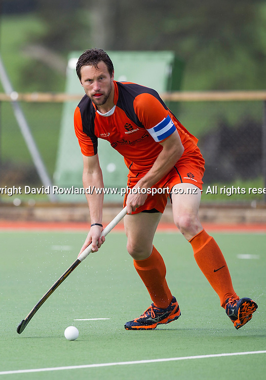 Midland`s captain Richard Petherick in the Auckland v Midlands Men`s Final match, Ford National Hockey League, North Harbour Hockey Stadium, Auckland, New Zealand,Sunday, September 14, 2014. Photo: David Rowland/Photosport