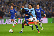 Leroy Sane (19) of Manchester City battles for possession with Antonio Rudiger (2) of Chelsea during the Carabao Cup Final match between Chelsea and Manchester City at Wembley Stadium, London, England on 24 February 2019.