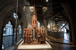 © Licensed to London News Pictures. 29/05/2018. London, UK. A scale model of Westminster Abbey with a spire, from 1714, is displayed the new Queen's Diamond Jubilee Galleries in Westminster Abbey. The wooden model was commissioned by Sir Christopher Wren to explore the feasibility of adding a tower and spire to the abbey. The recently finished galleries situated in 13th century triforium, 52 feet above the abbey floor, will display treasures not seen by the public before and tell the story of abbey's thousand-year history. Photo credit: Peter Macdiarmid/LNP