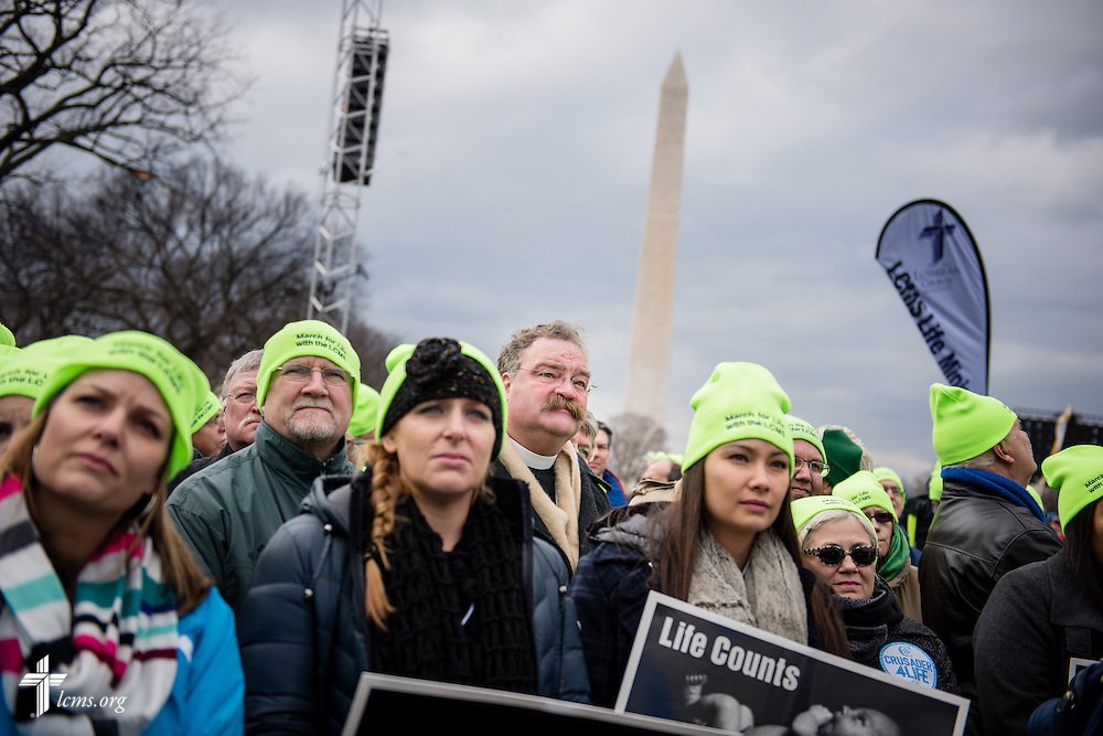 The Rev. Dr. Matthew C. Harrison, president of The Lutheran Church–Missouri Synod, joins fellow Lutherans from around the United States during the 2015 March for Life on Thursday, Jan. 22, 2015, in Washington, D.C. To the left of President Harrison is the Rev. John Fale, associate executive director of LCMS Mercy Operations. LCMS Communications/Erik M. Lunsford