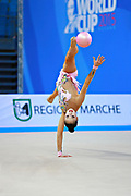Minagawa Kaho of Japan competes during Individual qualification of ball in the World Cup at Adriatic Arena on April 10, 2015 in Pesaro, Italy. Kaho was born on August 20,1997 in Chiba Prefecture, Japan.
