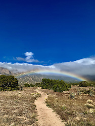 Dirt path leading towards a rainbow in New Mexico