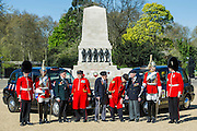 Guardsman Euan Jones, 20, Tpr Oliver Wain, 24, Rick Forest, 89 D-day, Reginald Widerspoon, 90, Charles Jeffries, 93 D-day/Dessert Rat, John Cuthbert, 92, Peter Kent, 90 Royal Navy, Tpr Joel Robinson, 20, L Cpl Stephen Hubball, 25 (L to R) - Second World War Veterans, Reg Wilderspin (89) and John Cuthbert (92), and serving Guardsmen on Horse Guards Parade Ground to highlight Royal British Legion events on Victory in Europe (VE) Day. The Legion is also announcing that veterans and their carers will receive funding towards attending the event on the weekend of the 8-10th May.<br /> <br /> Places will be available for a series of commemorative events over the weekend including on VE Day itself, Friday 8 May, when a Service of Remembrance will be held at The Cenotaph, with a national two minute silence at 3pm. On Sunday 10 May, there will a Service of Thanksgiving at 11am at Westminster Abbey attended by HM The Queen, followed by a parade from the Abbey to Horse Guards Parade and into St James&rsquo;s Park, where the Legion will host a lunch reception for the veterans.