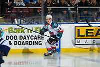 KELOWNA, CANADA - FEBRUARY 2:  Leif Mattson #28 of the Kelowna Rockets skates against the Kamloops Blazers on February 2, 2019 at Prospera Place in Kelowna, British Columbia, Canada.  (Photo by Marissa Baecker/Shoot the Breeze)