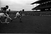 17/10/1965<br /> 10/17/1965<br /> 17 October 1965<br /> Oireachtas Final: Kilkenny v Tipperary at Croke Park, Dublin.<br /> Kilkenny defender clears the ball.