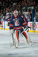 KELOWNA, CANADA - JANUARY 27: Connor Ingram #39 of the Kamloops Blazers skates to the net against the Kelowna Rockets on January 27, 2017 at Prospera Place in Kelowna, British Columbia, Canada.  (Photo by Marissa Baecker/Shoot the Breeze)  *** Local Caption ***