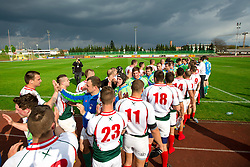 Players after rugby match between National team of Slovenia (green) and Bulgaria (white) at EUROPEAN NATIONS CUP 2012-2014 of C group 2nd division, on April 12, 2014, at ZAK Stadium, Ljubljana, Slovenia. (Photo by Matic Klansek Velej / Sportida.com)