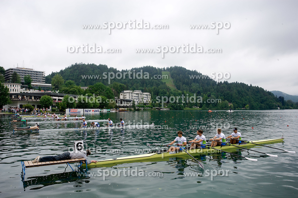 Andraz Krek, Luka Spik,  Jan Spik and Gasper Fistravec before start during finals at Rowing World Cup  on May 30, 2010, at Bled's lake, Bled, Slovenia. (Photo by Vid Ponikvar / Sportida)