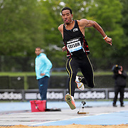 Christian Taylor, USA, in action during the Men's Triple Jump event at the Diamond League Adidas Grand Prix at Icahn Stadium, Randall's Island, Manhattan, New York, USA. 25th May 2013. Photo Tim Clayton
