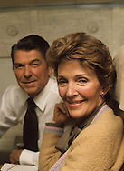 Candidate Ronald Reagan and Nancy Reagan  on a plane to Florida in 1976..Photograph by Dennis Brack bb 34
