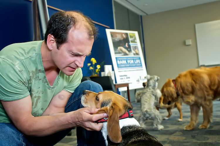 Tails were wagging at the Canadian Cancer Society when renowned dog trainer, TV host and author, Brad Pattison arrived to kick-off Bark For Life, a new canine event to fight cancer. Bark For Life will take place in Toronto on July 3 at Allan Gardens.