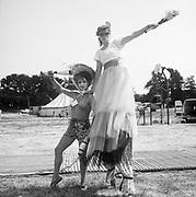 Theatre performers, at Glastonbury, 1989.