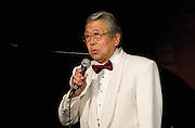 "Vocalist Henry ""Shig"" Sakamoto sings at the Minidoka Swing Band Benefit concert, Agnes Flanagan Chapel, Lewis & Clark College, Portland, Oregon"
