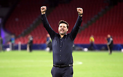 Tottenham Hotspur manager Mauricio Pochettino celebrates after the final whistle during the UEFA Champions League Semi Final, second leg match at Johan Cruijff ArenA, Amsterdam.