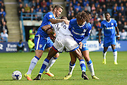 No way through for Oldham Athletic midfielder Ousmane Fane (24) during the EFL Sky Bet League 1 match between Gillingham and Oldham Athletic at the MEMS Priestfield Stadium, Gillingham, England on 8 October 2016. Photo by Martin Cole.