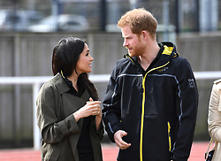 Prince Harry and Meghan Markle during a visit to the University of Bath Sports Training Village.