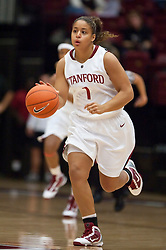 November 1, 2009; Stanford, CA, USA;  Stanford Cardinal guard Grace Mashore (1) during the first half against the Vanguard Lions at Maples Pavilion.