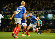 Conor Chaplin makes it 2-1 to Portsmouth during the Capital One Cup match between Portsmouth and Derby County at Fratton Park, Portsmouth, England on 12 August 2015. Photo by Adam Rivers.