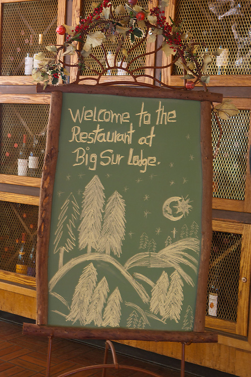 North America, California, Big Sur, sign at dining room of Big Sur Lodge.