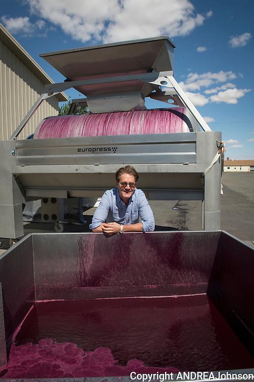 Kyle MacLachlan with his Pursued by Bear wine being made at Dunham cellars, Walla Walla, Washington