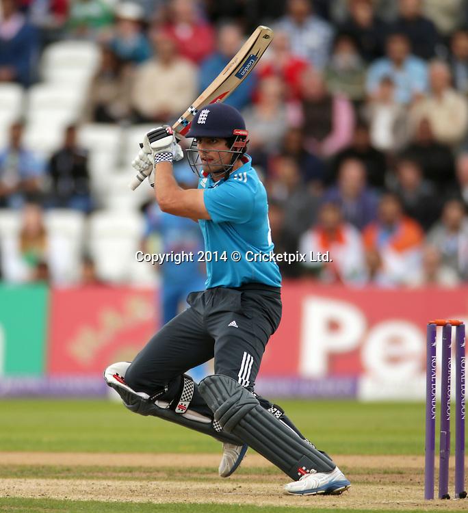 Alastair Cook bats during the third Royal London One Day International between England and India at Trent Bridge, Nottingham. Photo: Graham Morris/www.cricketpix.com (Tel: +44 (0)20 8969 4192; Email: graham@cricketpix.com) 300814