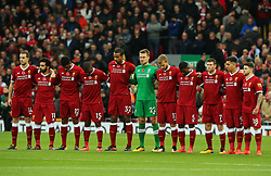 Liverpool players take part in a minutes silence - Mandatory by-line: Matt McNulty/JMP - 28/10/2017 - FOOTBALL - Anfield - Liverpool, England - Liverpool v Huddersfield Town - Premier League