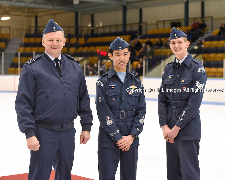 MARKHAM, - Jan 29, 2016 -  Ontario Junior Hockey League game action between Trenton and Markham at the Markham Centennial Community Centre, ON. Detachment Commander Major Paul Willis, with Cadet Chan and Cadet Sergeant Windsor after the skills competition.  <br /> (Photo by Andy Corneau / OJHL Images)