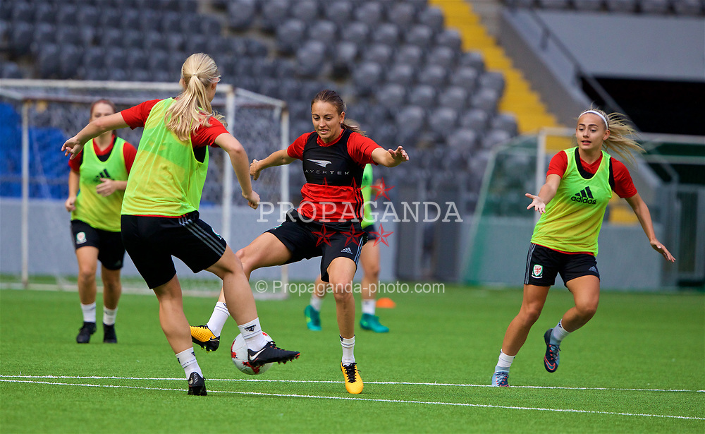 ASTANA, KAZAKHSTAN - Friday, September 15, 2017: Wales' Kayleigh Green training at the Astana Arena ahead of the FIFA Women's World Cup 2019 Qualifying Round Group 1 match against Kazakhstan. (Pic by David Rawcliffe/Propaganda)