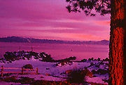 Spattered view of mountain water all pink and orange and gooey