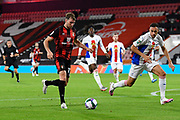 Jack Stacey (17) of AFC Bournemouth on the attack is chased by Jaroslaw Jach (33) of Crystal Palace during the EFL Cup match between Bournemouth and Crystal Palace at the Vitality Stadium, Bournemouth, England on 15 September 2020.
