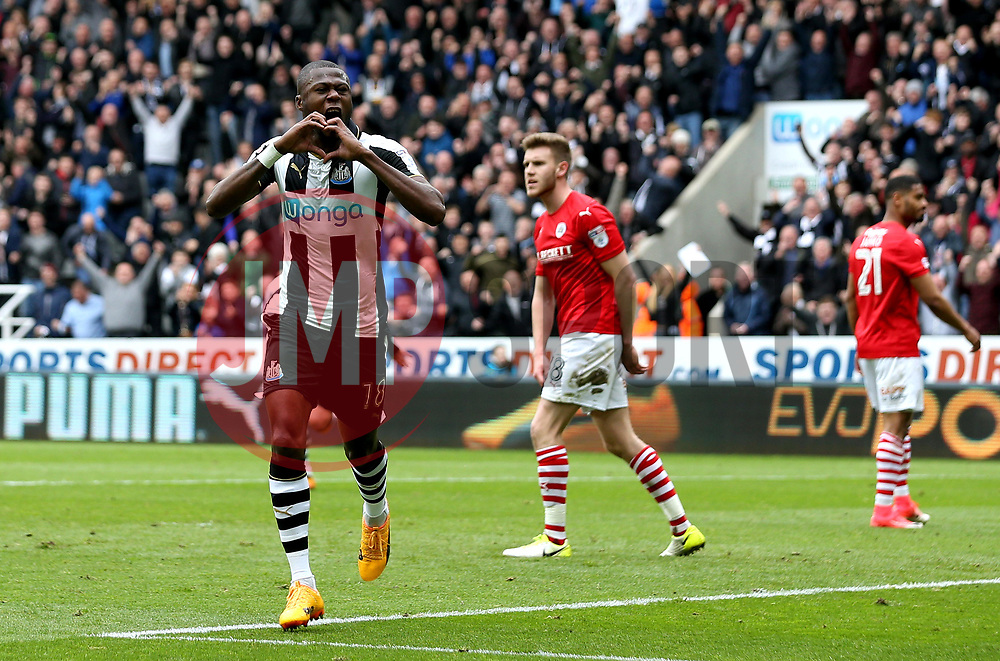 Chancel Mbemba of Newcastle United celebrates scoring a goal ro make it 2-0 - Mandatory by-line: Robbie Stephenson/JMP - 07/05/2017 - FOOTBALL - St James Park - Newcastle upon Tyne, England - Newcastle United v Barnsley - Sky Bet Championship