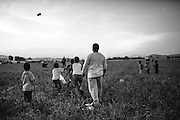 17 April 2016, Greece, Idomeni - Children play with kite inside the refugees camp of Idomeni.