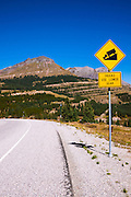 Steep grade sign on Molas Pass near Silverton, San Juan National Forest, Colorado USA