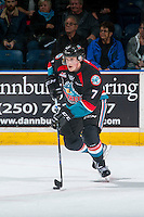 KELOWNA, CANADA - OCTOBER 26: Lucas Johansen #7 of the Kelowna Rockets skates with the puck against the Victoria Royals on October 26, 2016 at Prospera Place in Kelowna, British Columbia, Canada.  (Photo by Marissa Baecker/Shoot the Breeze)  *** Local Caption ***