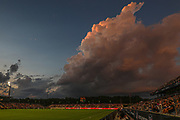 A general overall view of the sunset at a game between the North Carolina Courage and Manchester City during an International Champions Cup women's soccer game, Thurday, Aug. 15, 2019, in Cary, NC. The North Carolina Courage defeated Manchester City Women 2-1.  (Brian Villanueva/Image of Sport)