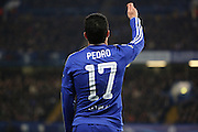 Chelsea attacker Pedro (17) getting fouled and asking ref for a yellow card during the Champions League match between Chelsea and Paris Saint-Germain at Stamford Bridge, London, England on 9 March 2016. Photo by Matthew Redman.